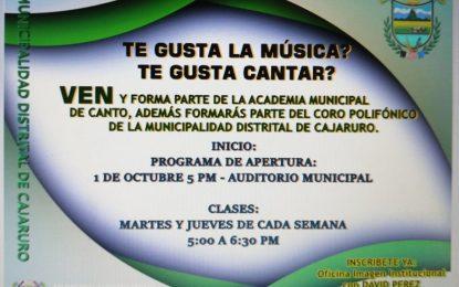 ¿Te Gusta la Música?…¿Te Gusta Cantar?… Ven y Forma Parte de la Academia Municipal de Cajaruro.