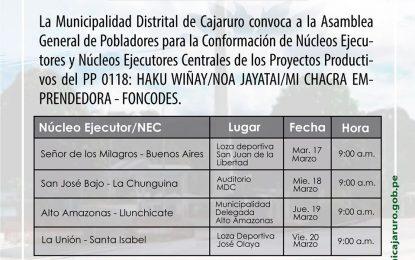 COMUNICADO: PROGRAMACIÓN DE REUNIONES PARA CONFORMACIÓN DE N.E. MDC- FONCODES