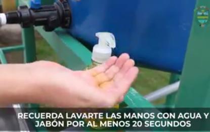 Municipalidad de Cajaruro instalada lavadero móvil en plaza San Martín