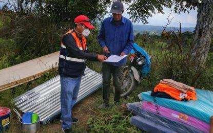 La Municipalidad de Cajaruro llevó ayuda humanitaria a familia damnificada por incendio ocurrido en el Caserío El Eucalipto ubicado en el C.P. San Juan de la Libertad